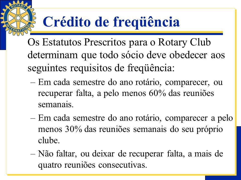 Crédito de freqüência Os Estatutos Prescritos para o Rotary Club determinam que todo sócio deve obedecer aos seguintes requisitos de freqüência: –Em c