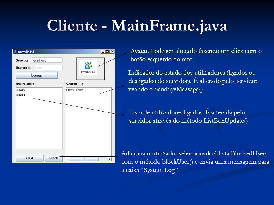 Cliente - Cliente - MainFrame.java Avatar. Pode ser alterado fazendo um click com o botão esquerdo do rato. Indicador do estado dos utilizadores (liga