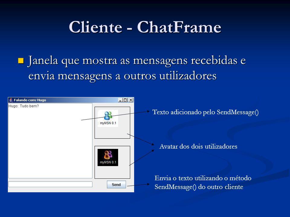 Cliente - ChatFrame Janela que mostra as mensagens recebidas e envia mensagens a outros utilizadores Janela que mostra as mensagens recebidas e envia