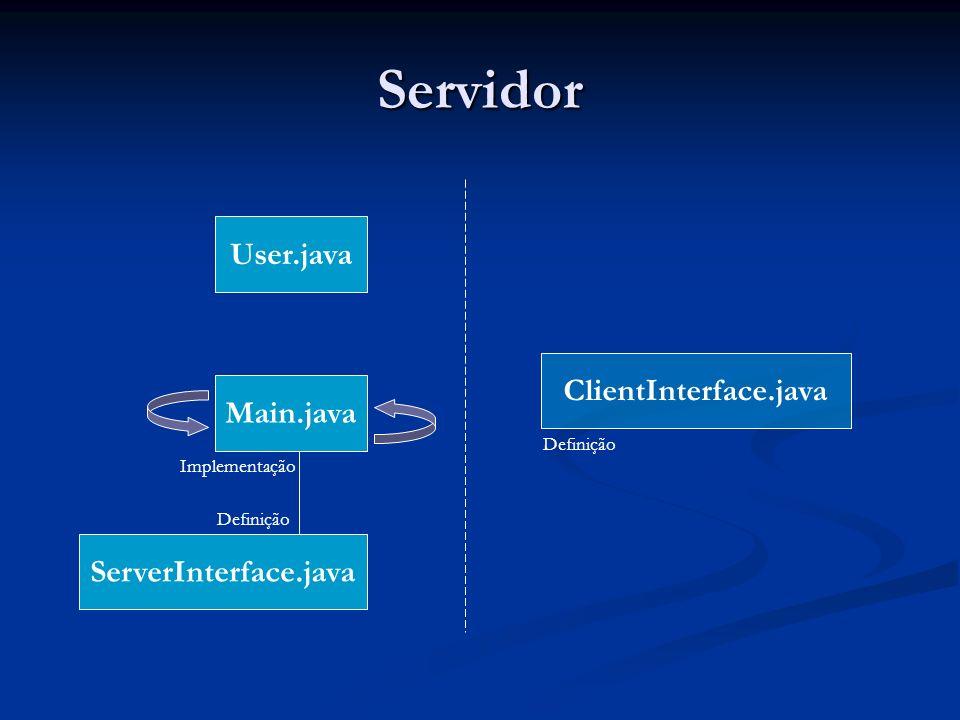 Servidor Main.java ServerInterface.java User.java ClientInterface.java Definição Implementação Definição