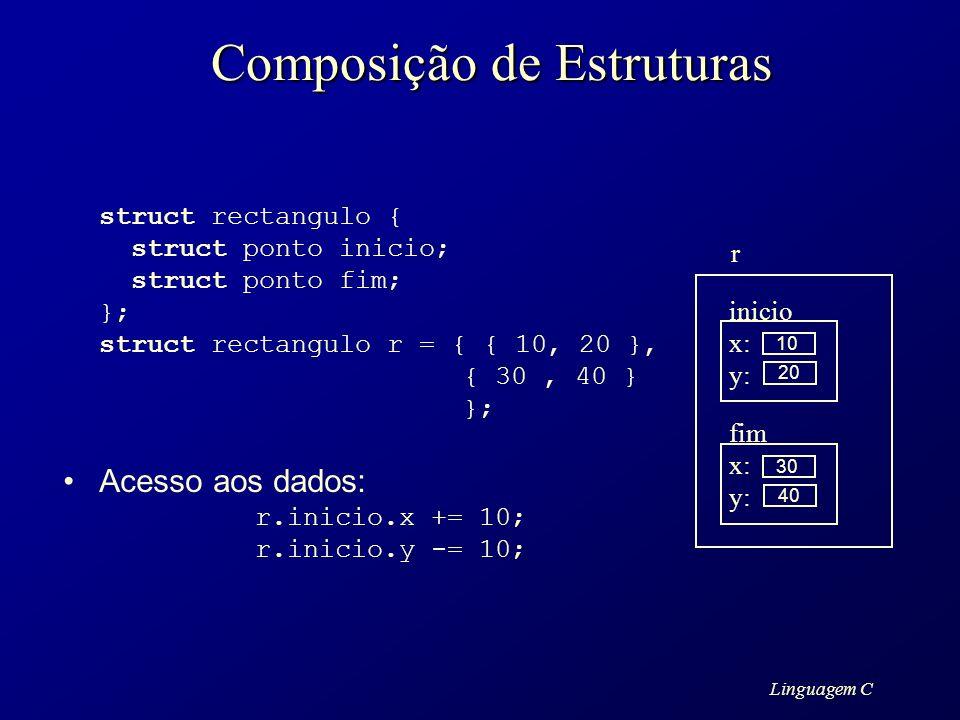 Linguagem C Composição de Estruturas struct rectangulo { struct ponto inicio; struct ponto fim; }; struct rectangulo r = { { 10, 20 }, { 30, 40 } }; A