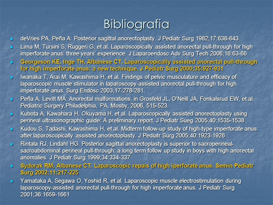 Bibliografia deVries PA, Peña A: Posterior sagittal anorectoplasty. J Pediatr Surg 1982;17:638-643 deVries PA, Peña A: Posterior sagittal anorectoplas