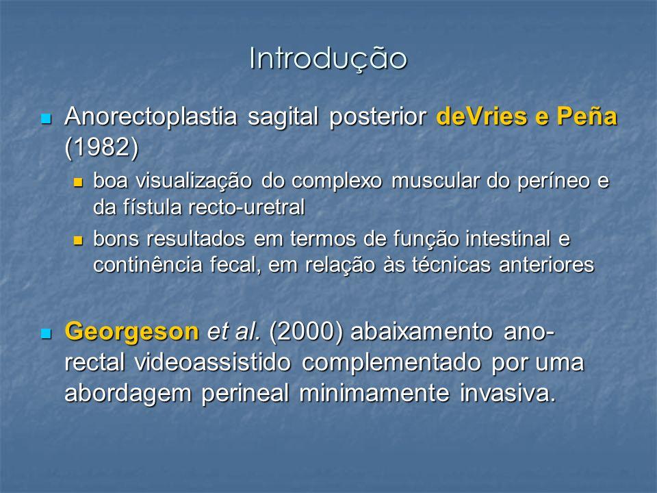 Introdução Anorectoplastia sagital posterior deVries e Peña (1982) Anorectoplastia sagital posterior deVries e Peña (1982) boa visualização do complex