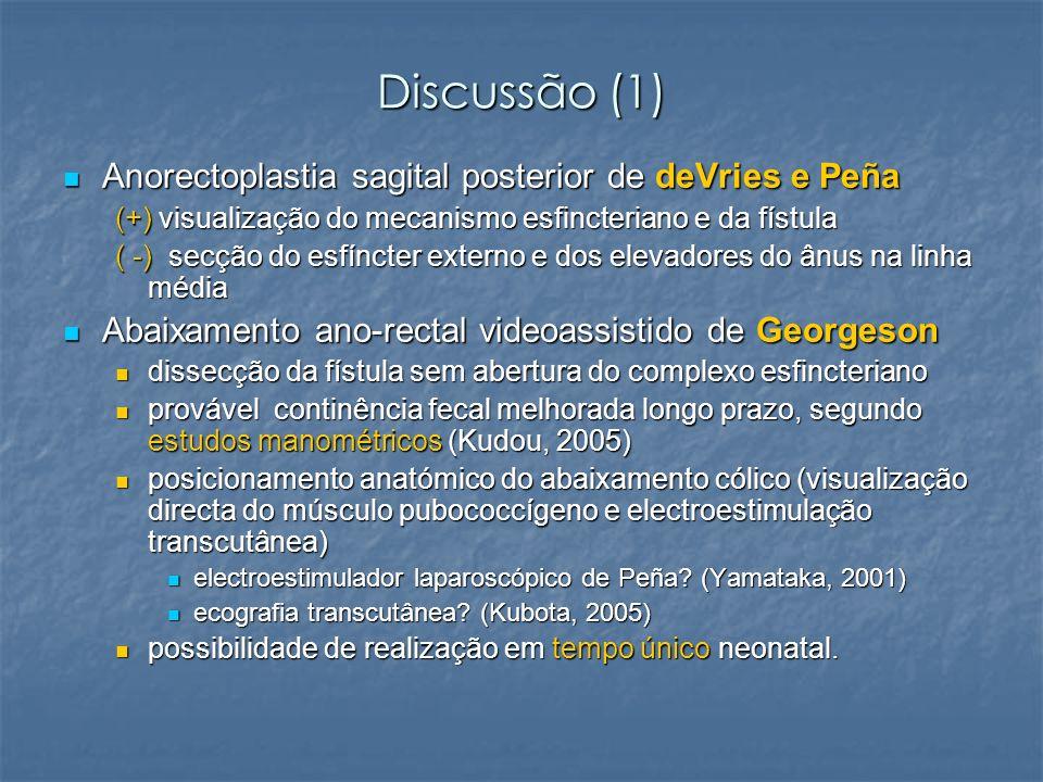Discussão (1) Anorectoplastia sagital posterior de deVries e Peña Anorectoplastia sagital posterior de deVries e Peña (+) visualização do mecanismo es
