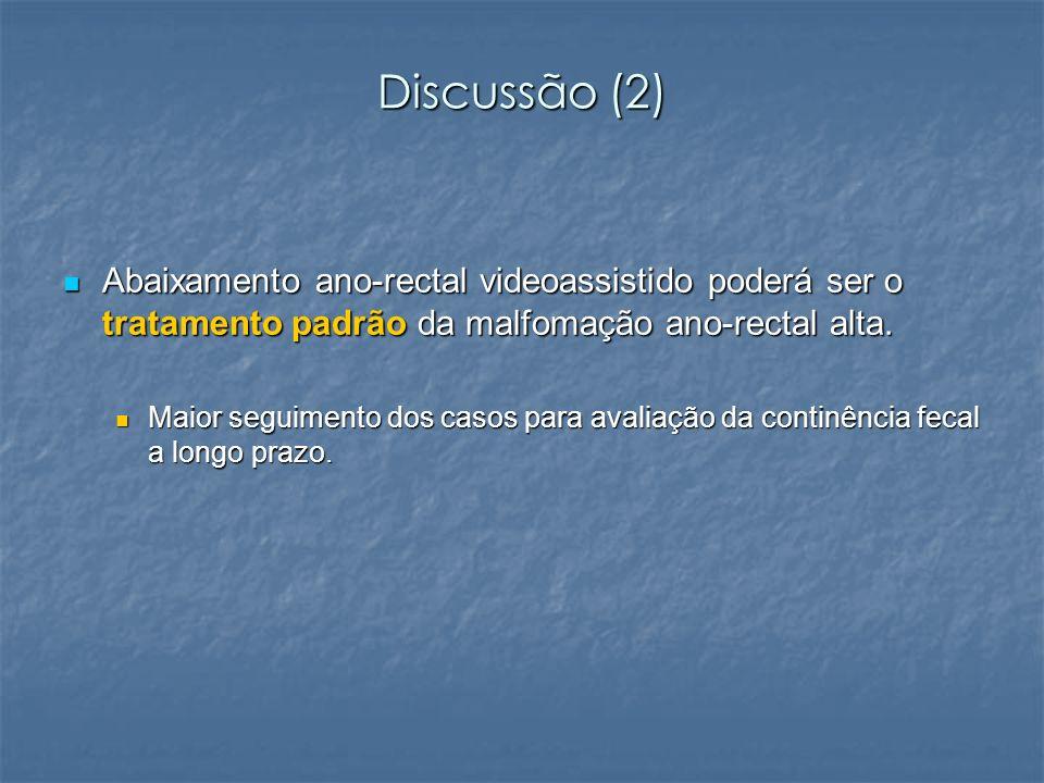 Discussão (2) Abaixamento ano-rectal videoassistido poderá ser o tratamento padrão da malfomação ano-rectal alta. Abaixamento ano-rectal videoassistid