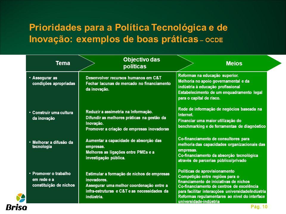 Pág. 10 Tema Meios Assegurar as condições apropriadas Construir uma cultura da inovação Melhorar a difusão da tecnologia Promover o trabalho em rede e