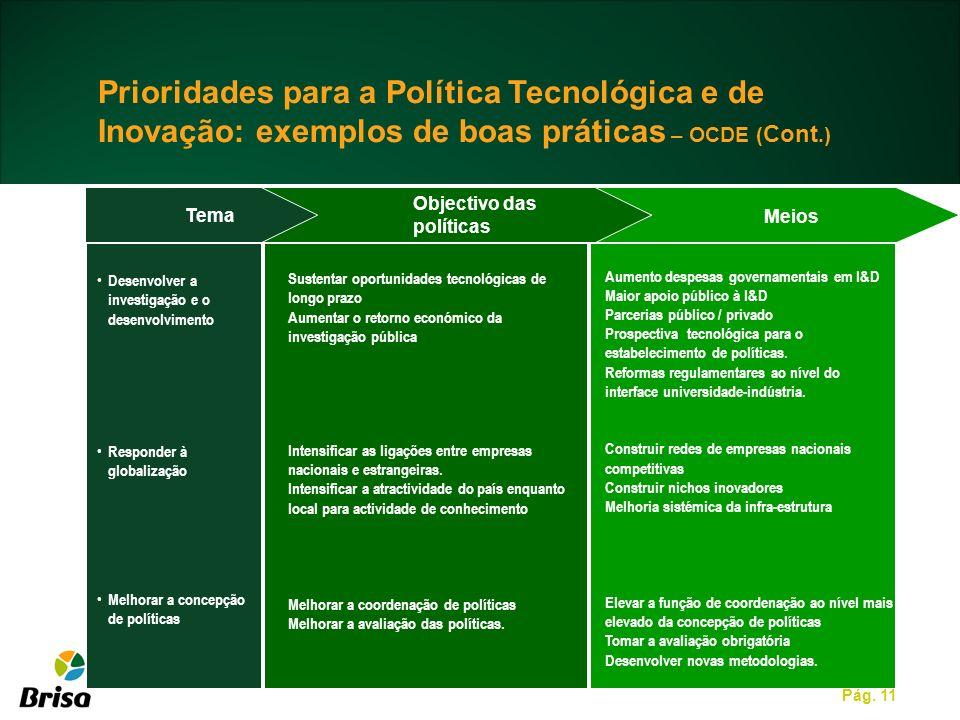Pág. 11 Tema Meios Desenvolver a investigação e o desenvolvimento Responder à globalização Melhorar a concepção de políticas Sustentar oportunidades t