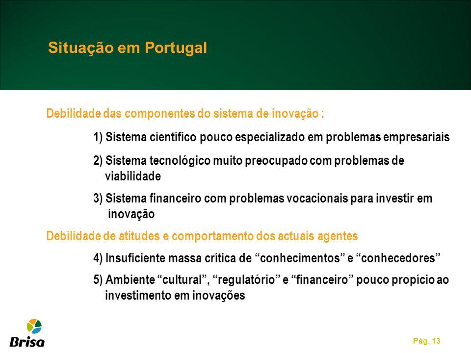 Pág. 13 Situação em Portugal Debilidade das componentes do sistema de inovação : 1) Sistema científico pouco especializado em problemas empresariais 2