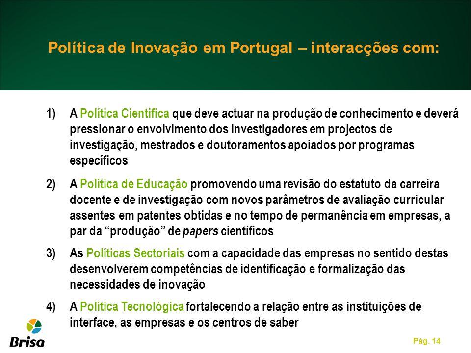 Pág. 14 Política de Inovação em Portugal – interacções com: 1)A Política Cientifica que deve actuar na produção de conhecimento e deverá pressionar o