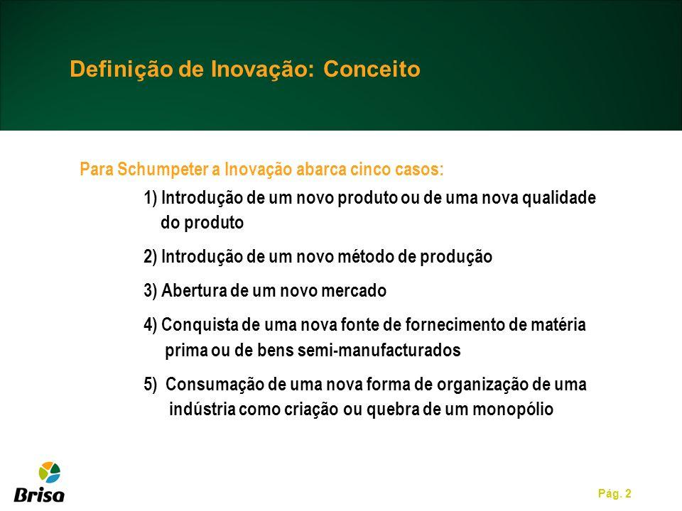 Pág. 2 Para Schumpeter a Inovação abarca cinco casos: 1) Introdução de um novo produto ou de uma nova qualidade do produto 2) Introdução de um novo mé