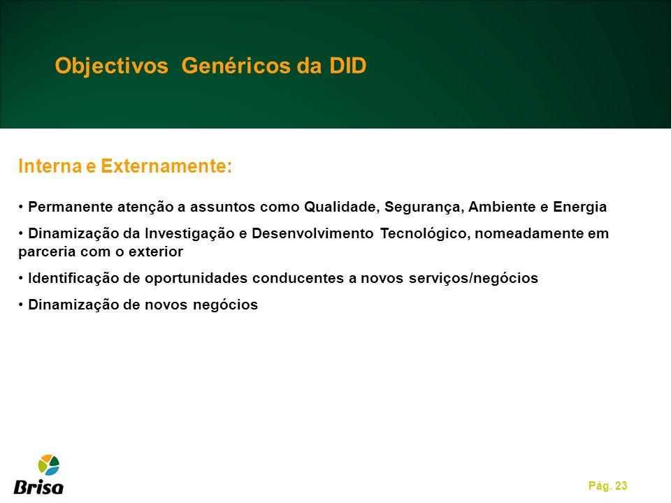 Pág. 23 Objectivos Genéricos da DID Interna e Externamente: Permanente atenção a assuntos como Qualidade, Segurança, Ambiente e Energia Dinamização da