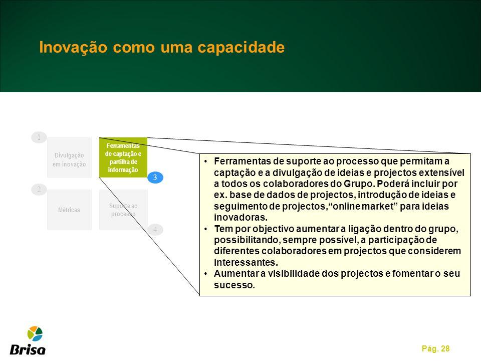 Pág. 28 Divulgação em inovação Ferramentas de captação e partilha de informação Suporte ao processo Ferramentas de suporte ao processo que permitam a
