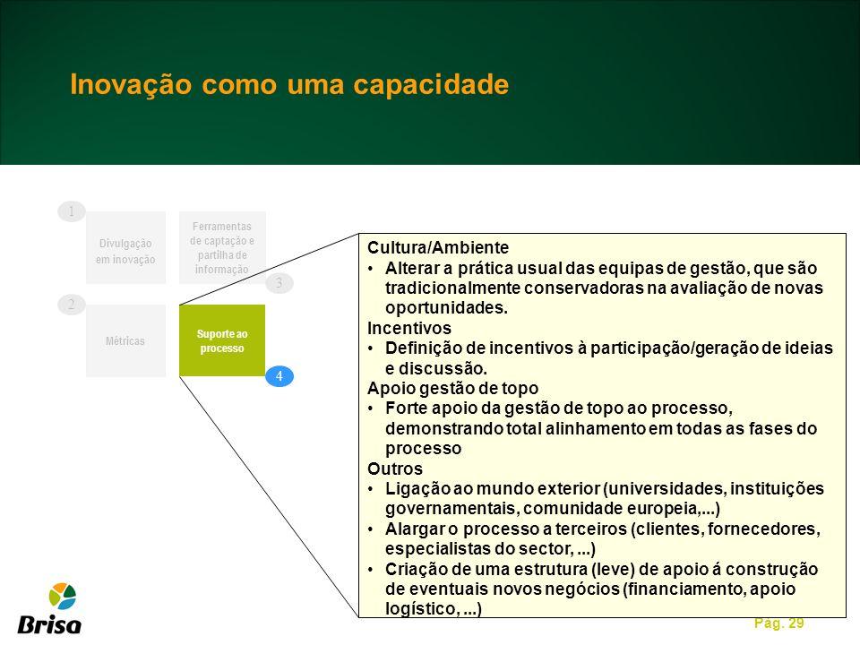 Pág. 29 Divulgação em inovação Ferramentas de captação e partilha de informação Suporte ao processo Cultura/Ambiente Alterar a prática usual das equip