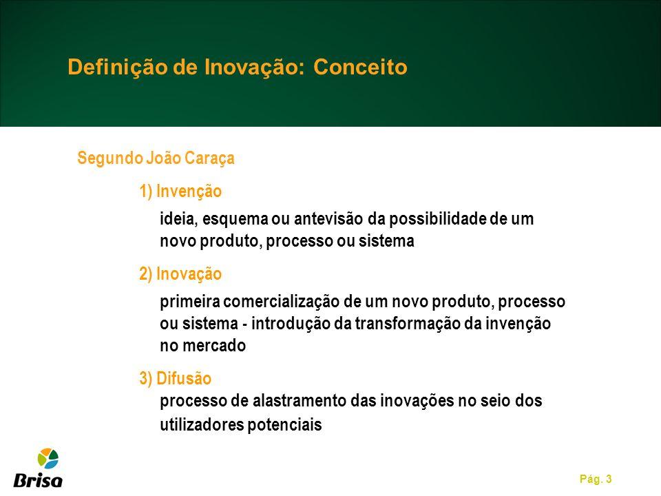 Pág. 3 Definição de Inovação: Conceito Segundo João Caraça 1) Invenção ideia, esquema ou antevisão da possibilidade de um novo produto, processo ou si