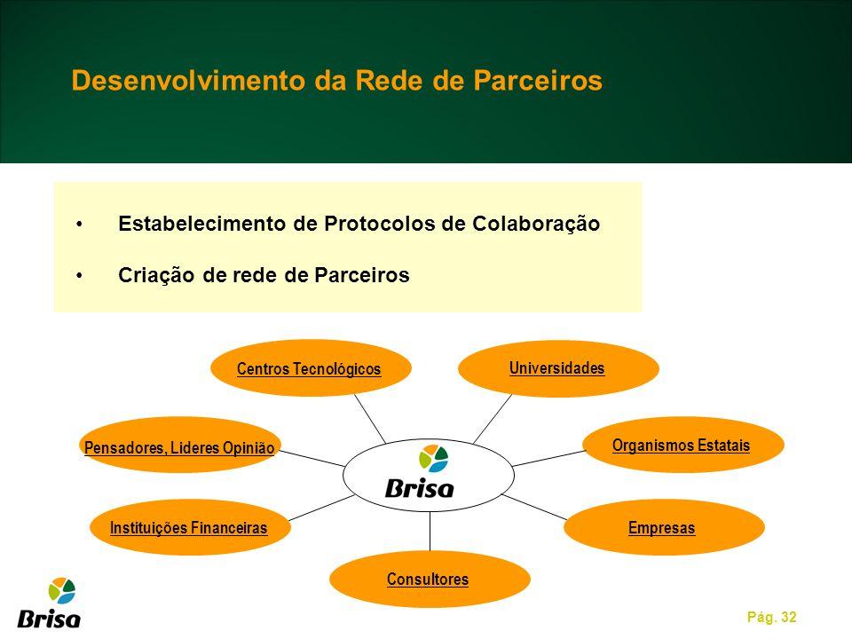 Pág. 32 Estabelecimento de Protocolos de Colaboração Criação de rede de Parceiros Universidades Centros Tecnológicos Organismos Estatais Empresas Cons