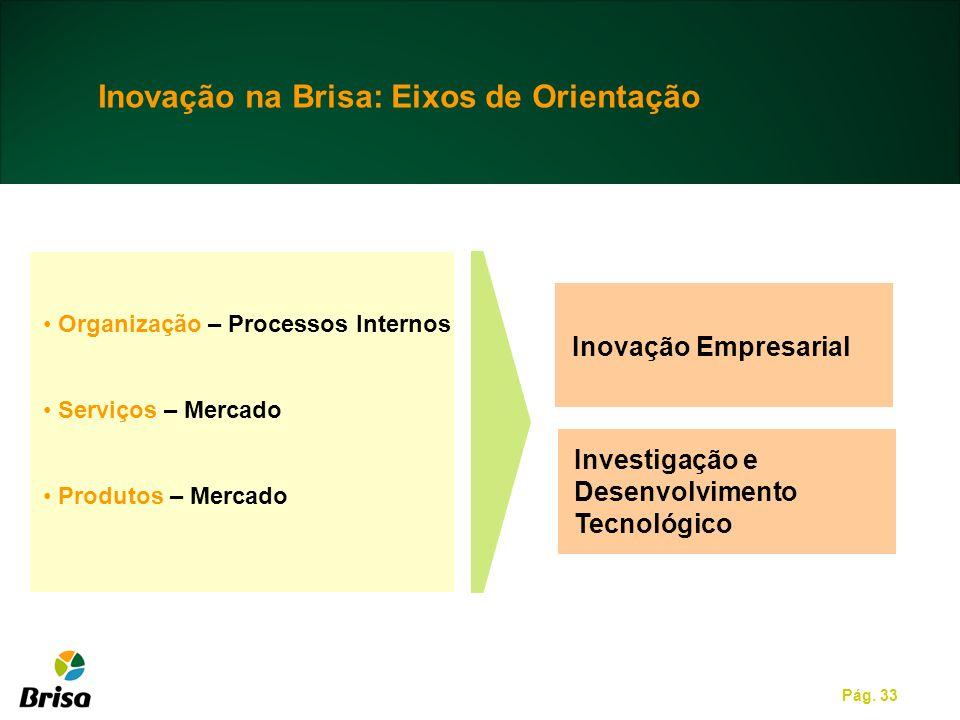 Pág. 33 Organização – Processos Internos Serviços – Mercado Produtos – Mercado Inovação na Brisa: Eixos de Orientação Inovação Empresarial Investigaçã