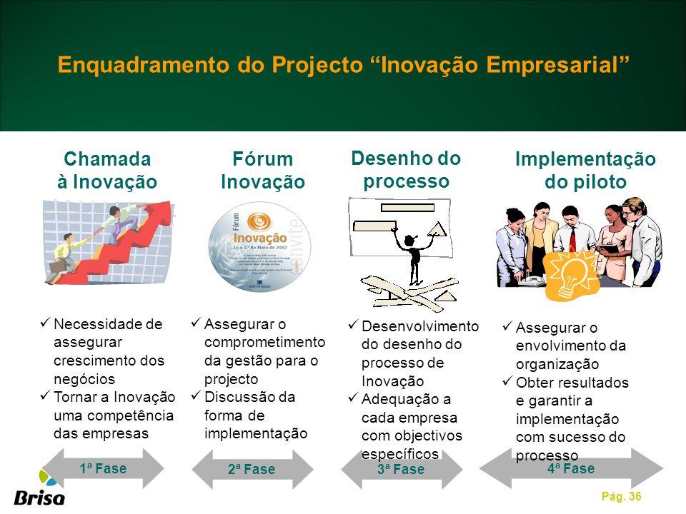 Pág. 36 Enquadramento do Projecto Inovação Empresarial 1ª Fase Necessidade de assegurar crescimento dos negócios Tornar a Inovação uma competência das