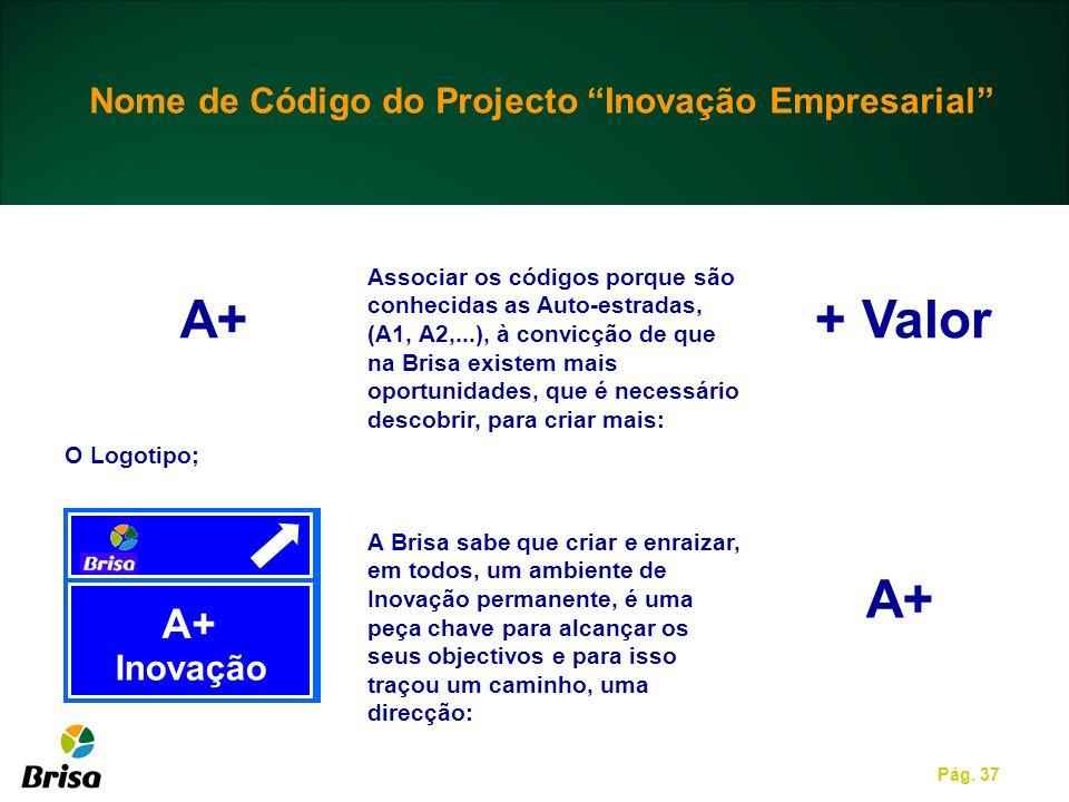 Pág. 37 A+ Inovação A+ Associar os códigos porque são conhecidas as Auto-estradas, (A1, A2,...), à convicção de que na Brisa existem mais oportunidade