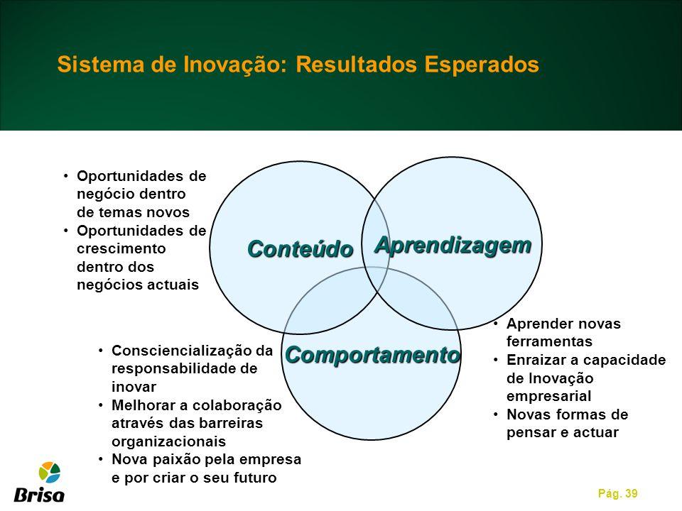 Pág. 39 Comportamento Conteúdo Oportunidades de negócio dentro de temas novos Oportunidades de crescimento dentro dos negócios actuais Aprender novas