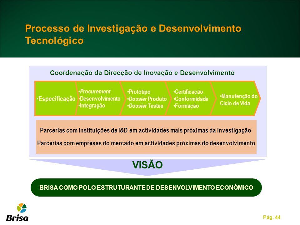 Pág. 44 Processo de Investigação e Desenvolvimento Tecnológico Parcerias com instituições de I&D em actividades mais próximas da investigação Parceria