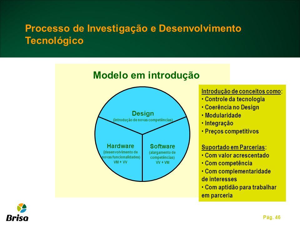 Pág. 46 Design (introdução de novas competências) Software (alargamento de competências) VV + VM Hardware ( desenvolvimento de novas funcionalidades)
