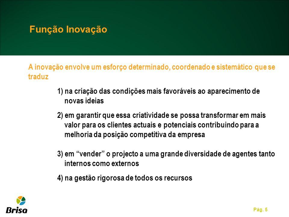 Pág. 5 Função Inovação A inovação envolve um esforço determinado, coordenado e sistemático que se traduz 1) na criação das condições mais favoráveis a