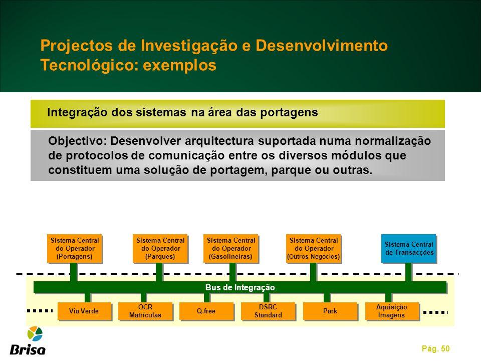 Pág. 50 Integração dos sistemas na área das portagens Objectivo: Desenvolver arquitectura suportada numa normalização de protocolos de comunicação ent
