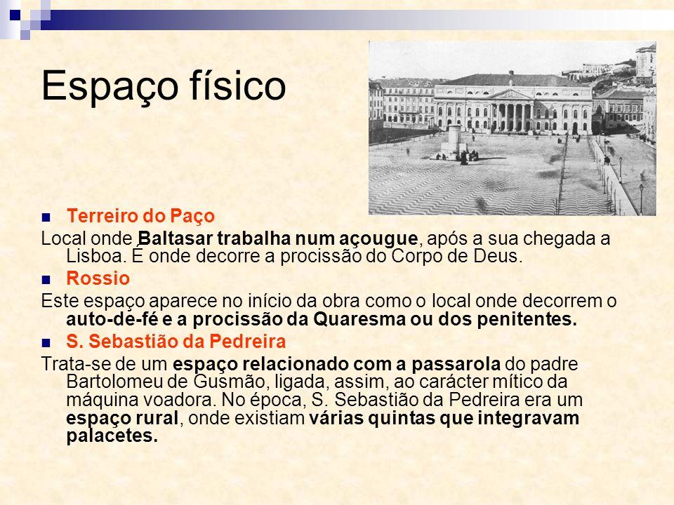 Espaço físico Terreiro do Paço Local onde Baltasar trabalha num açougue, após a sua chegada a Lisboa. É onde decorre a procissão do Corpo de Deus. Ros