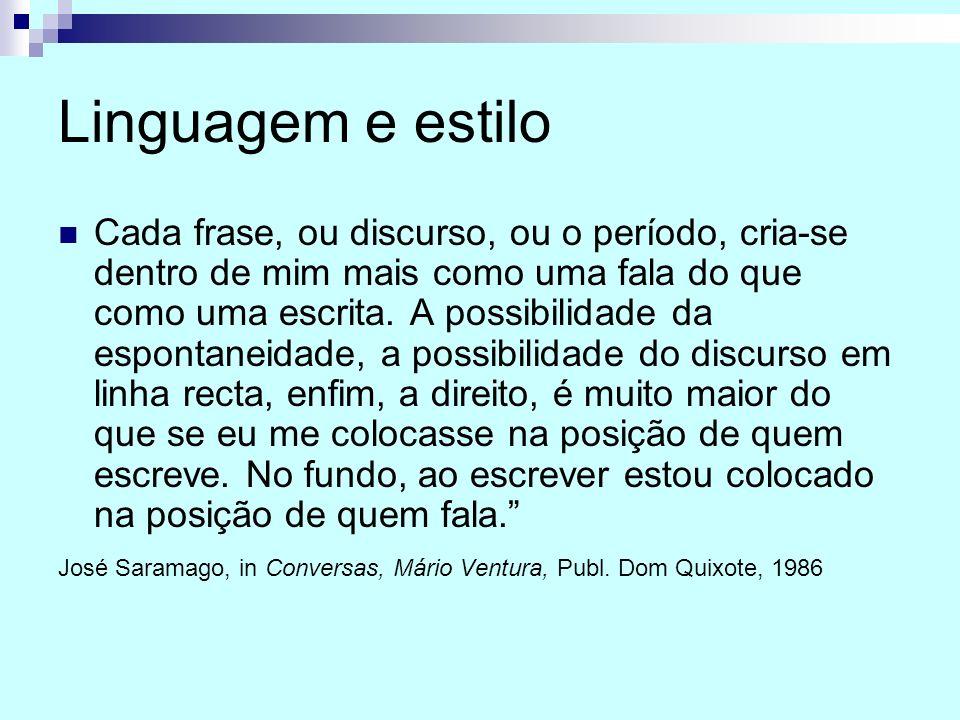 Linguagem e estilo Cada frase, ou discurso, ou o período, cria-se dentro de mim mais como uma fala do que como uma escrita. A possibilidade da esponta