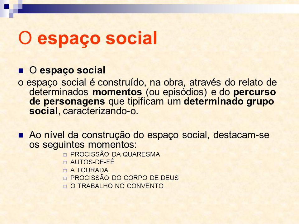 O espaço social O espaço social o espaço social é construído, na obra, através do relato de determinados momentos (ou episódios) e do percurso de pers