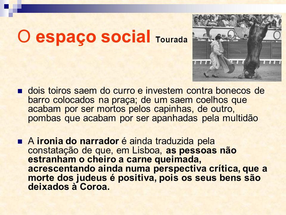 O espaço social Tourada dois toiros saem do curro e investem contra bonecos de barro colocados na praça; de um saem coelhos que acabam por ser mortos