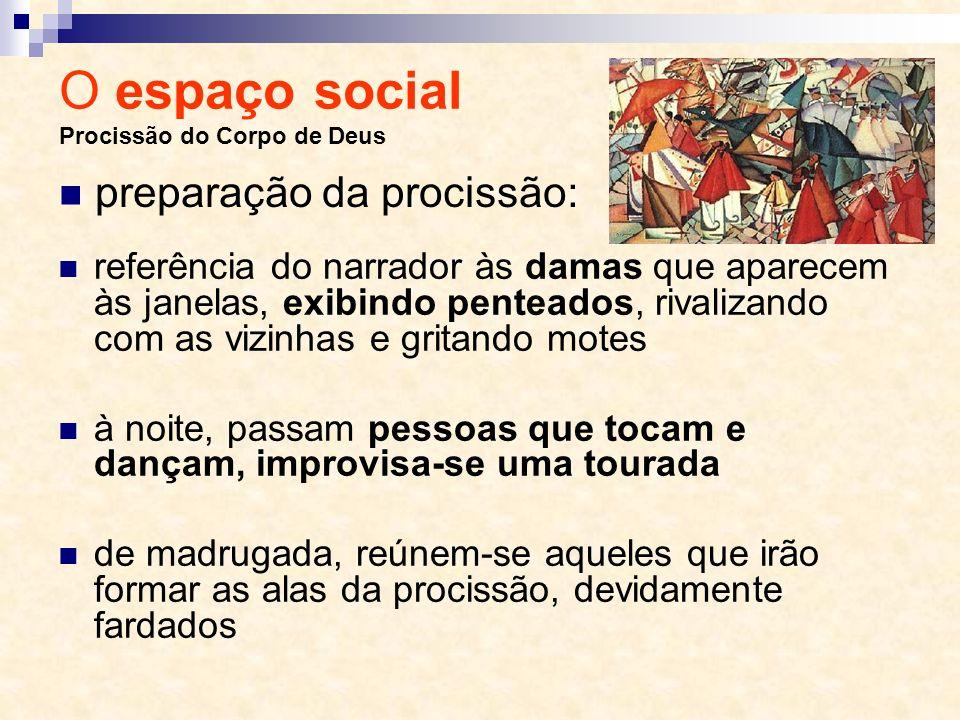 O espaço social Procissão do Corpo de Deus referência do narrador às damas que aparecem às janelas, exibindo penteados, rivalizando com as vizinhas e