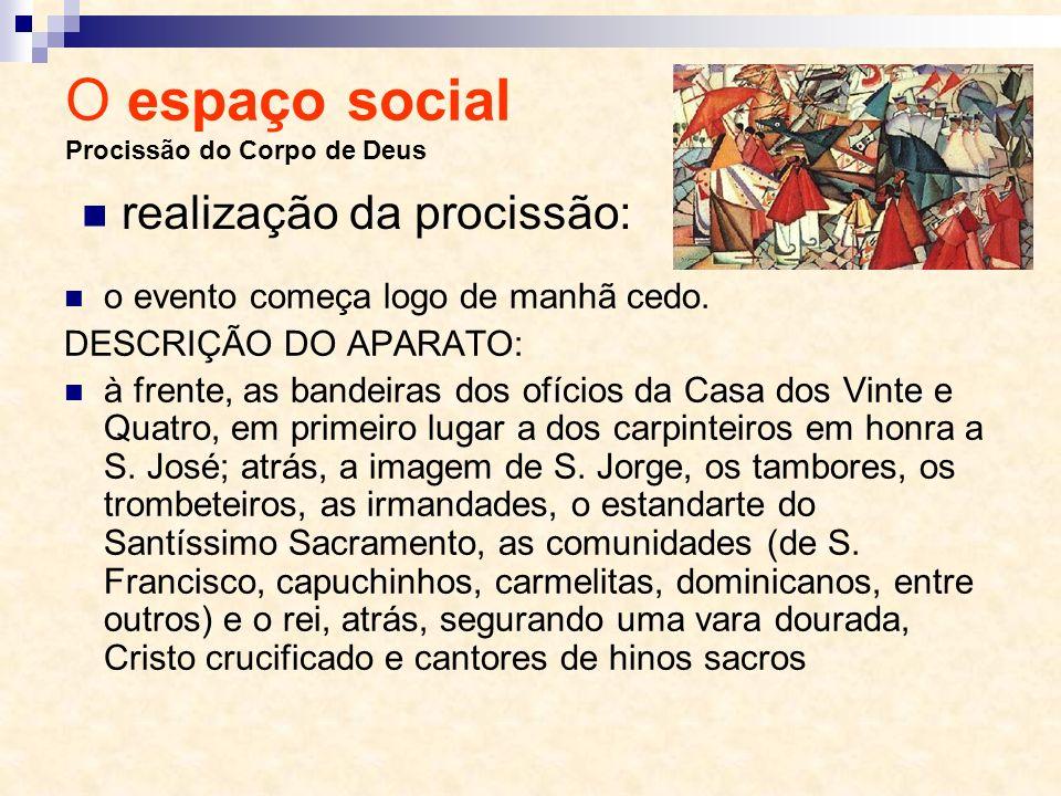 O espaço social Procissão do Corpo de Deus o evento começa logo de manhã cedo. DESCRIÇÃO DO APARATO: à frente, as bandeiras dos ofícios da Casa dos Vi