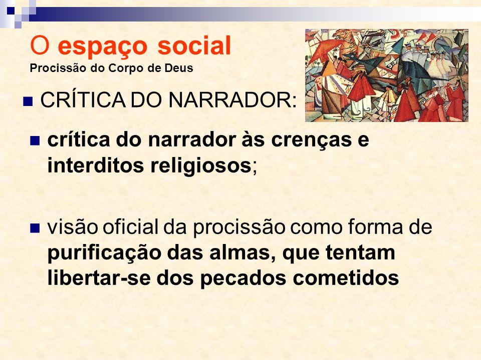 O espaço social Procissão do Corpo de Deus crítica do narrador às crenças e interditos religiosos; visão oficial da procissão como forma de purificaçã