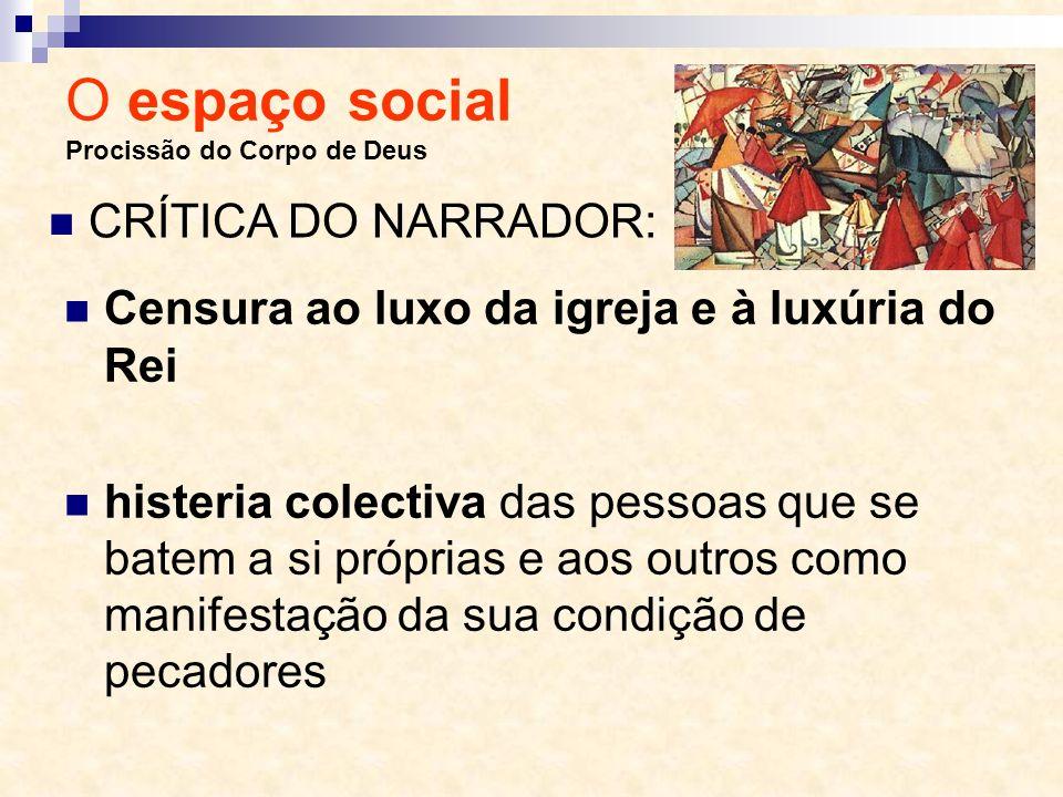 O espaço social Procissão do Corpo de Deus Censura ao luxo da igreja e à luxúria do Rei histeria colectiva das pessoas que se batem a si próprias e ao