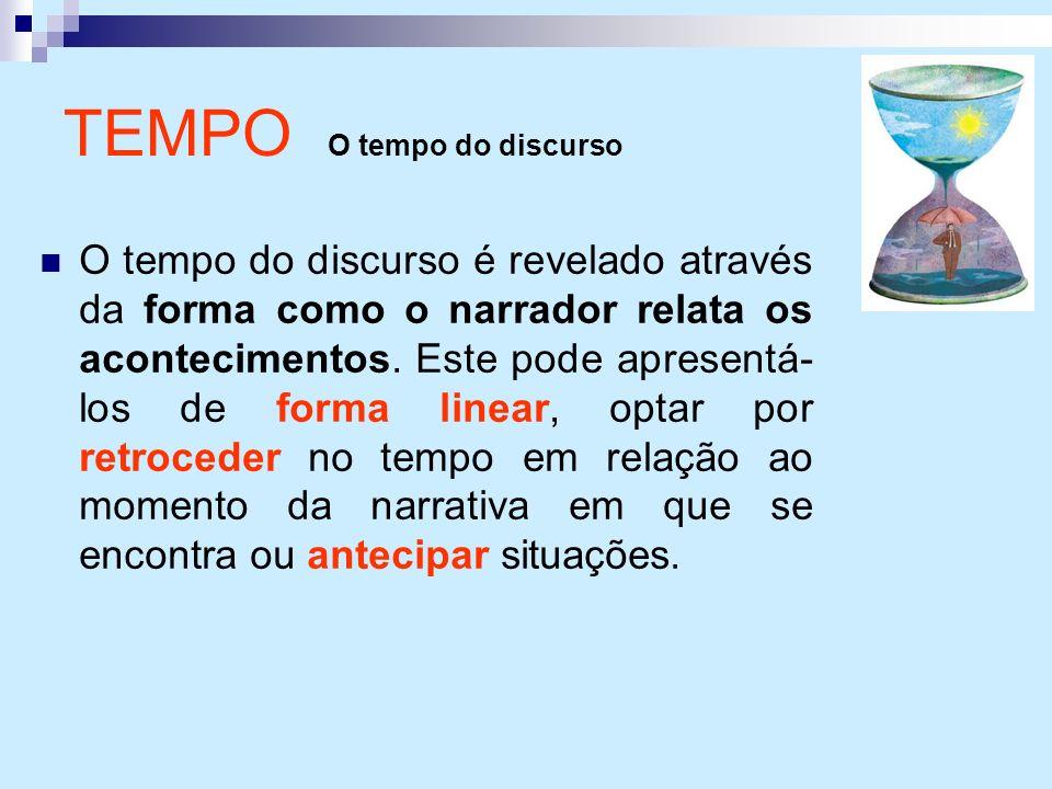 TEMPO O tempo do discurso O tempo do discurso é revelado através da forma como o narrador relata os acontecimentos. Este pode apresentá- los de forma