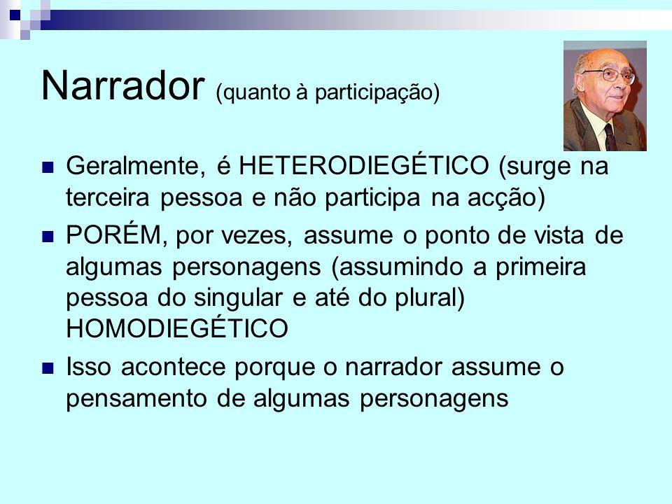 Narrador (quanto à participação) Geralmente, é HETERODIEGÉTICO (surge na terceira pessoa e não participa na acção) PORÉM, por vezes, assume o ponto de