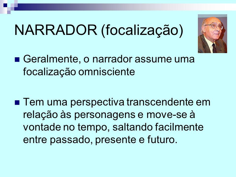 NARRADOR (focalização) Geralmente, o narrador assume uma focalização omnisciente Tem uma perspectiva transcendente em relação às personagens e move-se