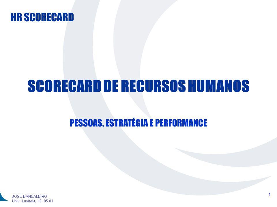 HR SCORECARD 1 JOSÉ BANCALEIRO Univ. Lusíada, 10. 05.03 SCORECARD DE RECURSOS HUMANOS PESSOAS, ESTRATÉGIA E PERFORMANCE