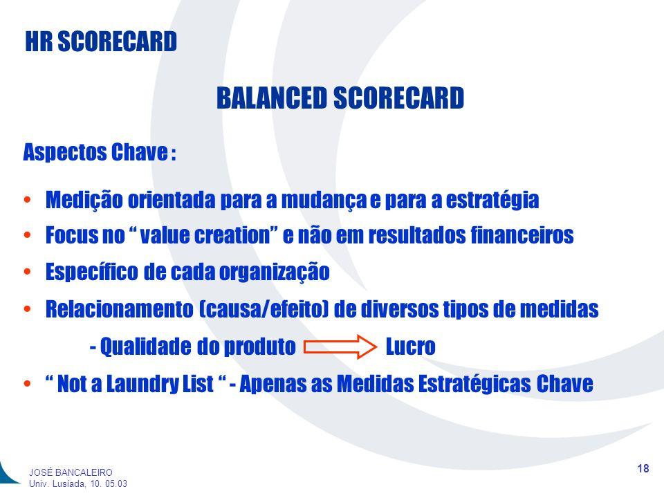 HR SCORECARD 18 JOSÉ BANCALEIRO Univ. Lusíada, 10. 05.03 BALANCED SCORECARD Aspectos Chave : Medição orientada para a mudança e para a estratégia Focu