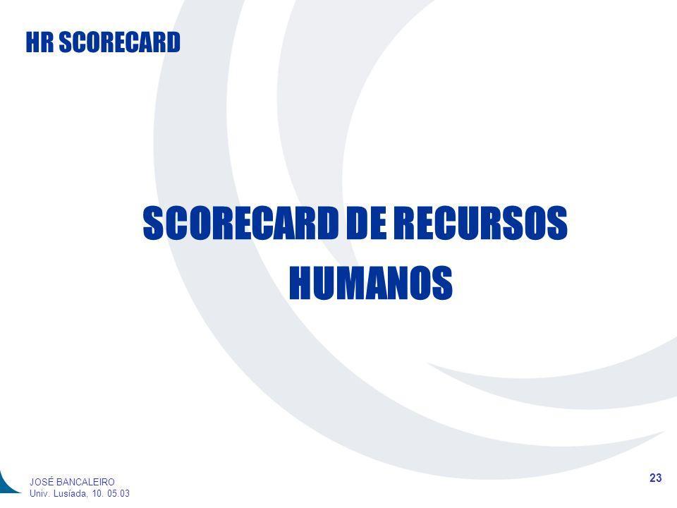HR SCORECARD 23 JOSÉ BANCALEIRO Univ. Lusíada, 10. 05.03 SCORECARD DE RECURSOS HUMANOS