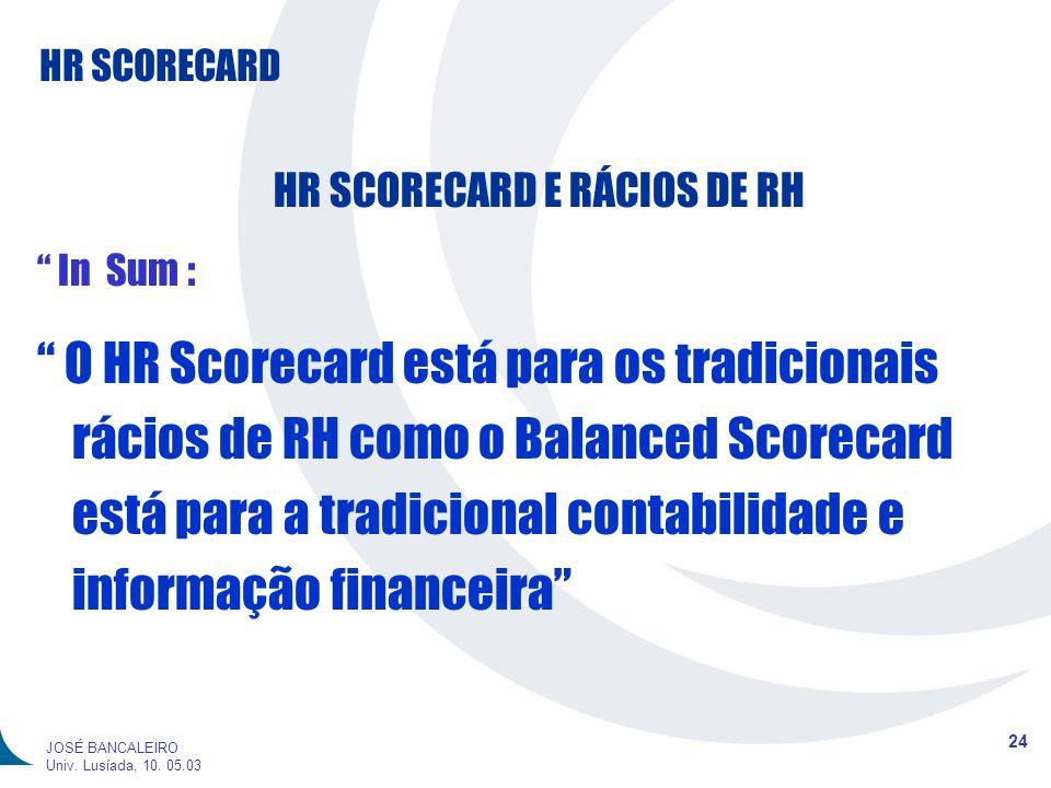 HR SCORECARD 24 JOSÉ BANCALEIRO Univ. Lusíada, 10. 05.03 HR SCORECARD E RÁCIOS DE RH In Sum : O HR Scorecard está para os tradicionais rácios de RH co