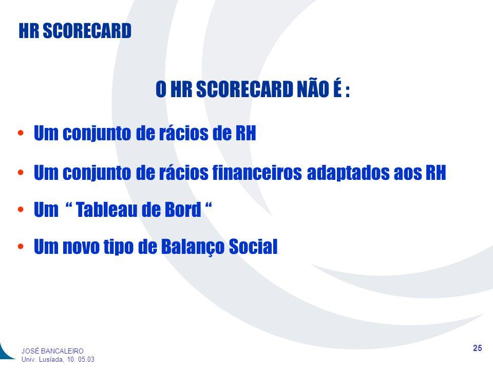 HR SCORECARD 25 JOSÉ BANCALEIRO Univ. Lusíada, 10. 05.03 O HR SCORECARD NÃO É : Um conjunto de rácios de RH Um conjunto de rácios financeiros adaptado