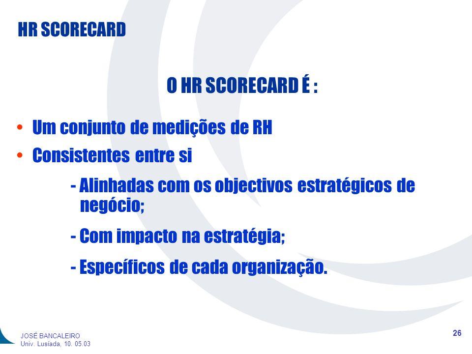 HR SCORECARD 26 JOSÉ BANCALEIRO Univ. Lusíada, 10. 05.03 O HR SCORECARD É : Um conjunto de medições de RH Consistentes entre si - Alinhadas com os obj