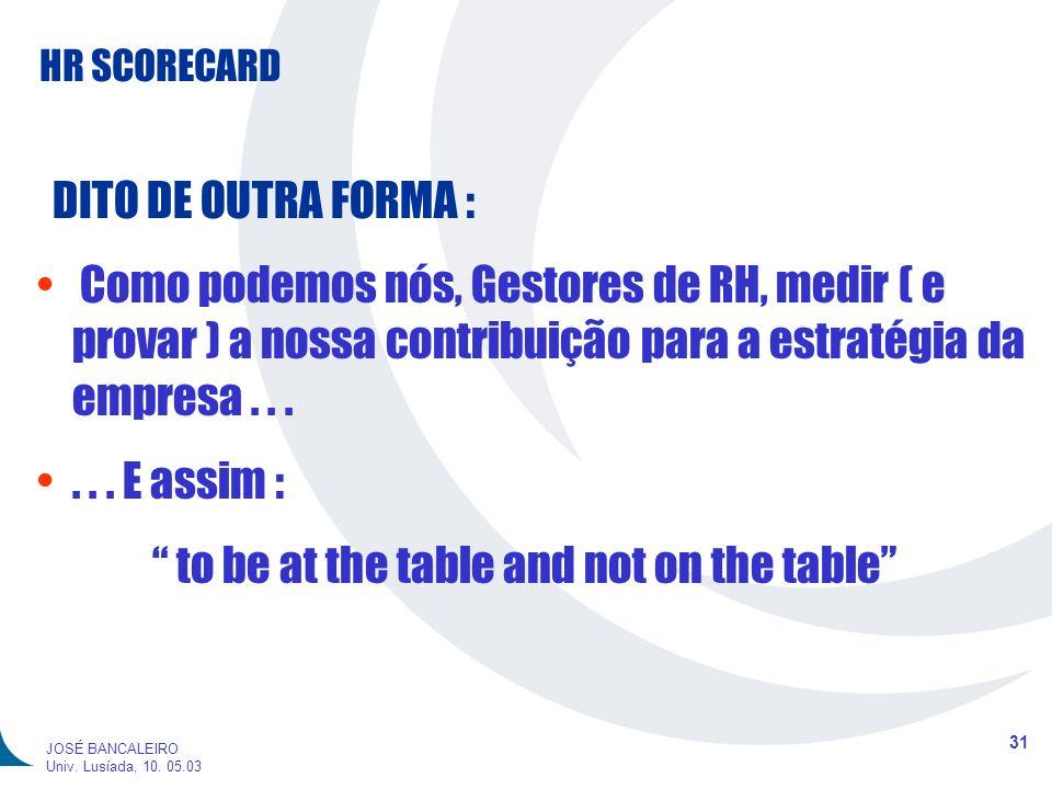HR SCORECARD 31 JOSÉ BANCALEIRO Univ. Lusíada, 10. 05.03 DITO DE OUTRA FORMA : Como podemos nós, Gestores de RH, medir ( e provar ) a nossa contribuiç
