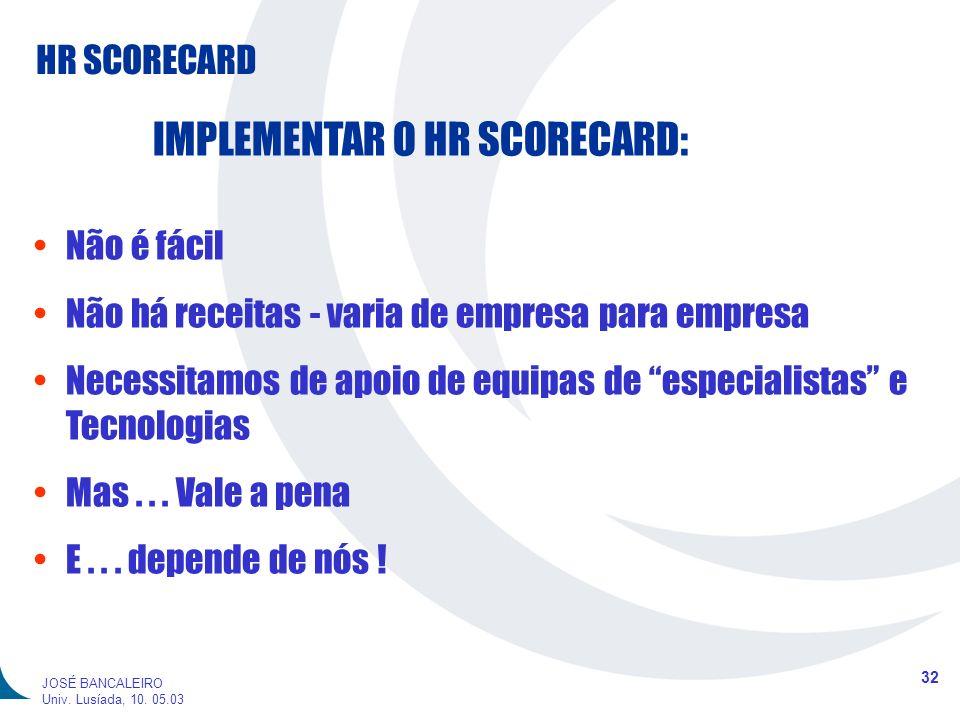 HR SCORECARD 32 JOSÉ BANCALEIRO Univ. Lusíada, 10. 05.03 IMPLEMENTAR O HR SCORECARD: Não é fácil Não há receitas - varia de empresa para empresa Neces