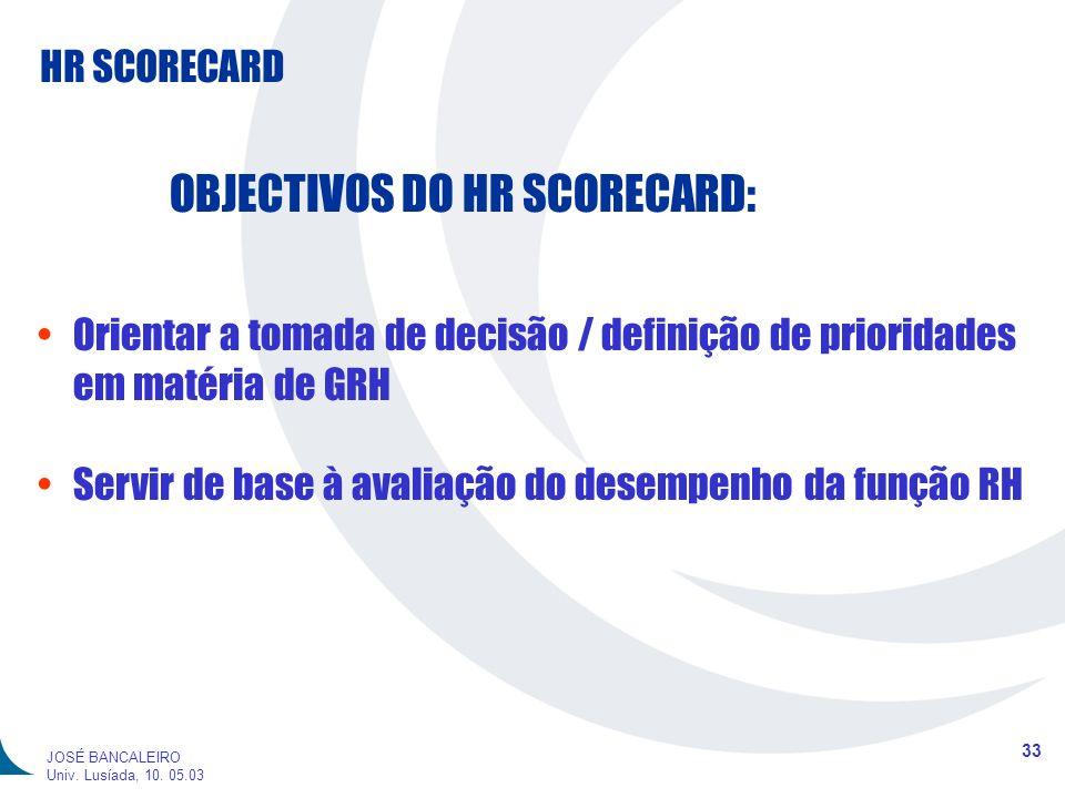 HR SCORECARD 33 JOSÉ BANCALEIRO Univ. Lusíada, 10. 05.03 OBJECTIVOS DO HR SCORECARD: Orientar a tomada de decisão / definição de prioridades em matéri