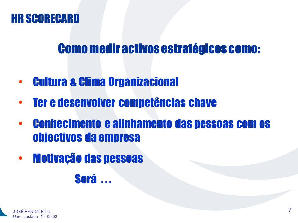 HR SCORECARD 7 JOSÉ BANCALEIRO Univ. Lusíada, 10. 05.03 Como medir activos estratégicos como: Cultura & Clima Organizacional Ter e desenvolver competê