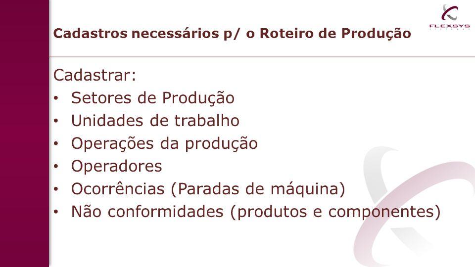 Cadastros necessários p/ o Roteiro de Produção Cadastrar: Setores de Produção Unidades de trabalho Operações da produção Operadores Ocorrências (Parad