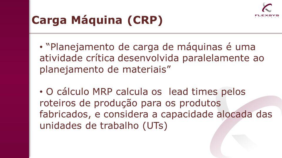 Carga Máquina (CRP) Planejamento de carga de máquinas é uma atividade crítica desenvolvida paralelamente ao planejamento de materiais O cálculo MRP ca